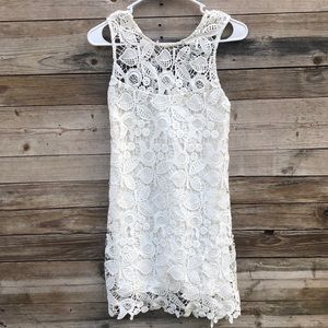 Wayf | White Lace Criss Cross Mini Dress Small